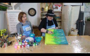 Zdjęcie z planu warsztatu pod tytułem malowanie na jedwabiu z użyciem soli